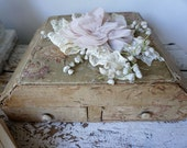 French antique box shabby cottage chic faded fabric covered box w/ compartments for sewing items jewelry home decor anita spero design