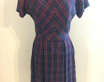 1960s plaid pleated dress