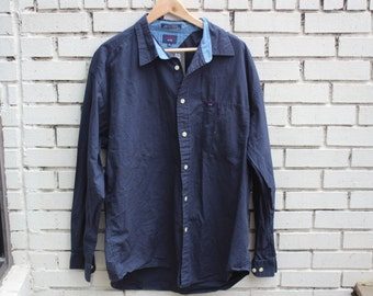 Vintage TOMMY JEANS Button-up shirt longsleeve buttons collared dress shirt formal attire