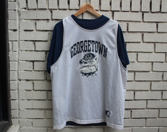 Vintage GEORGETOWN UNIVERSITY Jersey Shirt - starter tag made in usa - Hoyas College tshirt Mascot vtg d.c. bulldog it's about team