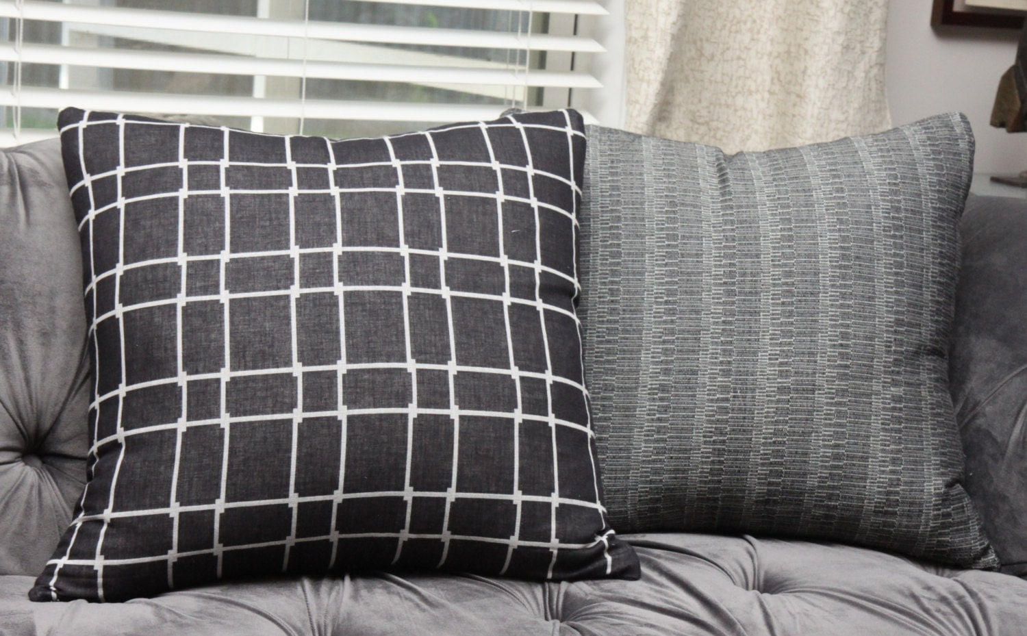 Large Off White Throw Pillows: Black Geometric Pillow Cover Black And Off White Decorative