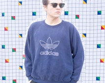 ADIDAS 1990s Vintage Navy Blue Oversized Baggy Sweatshirt Sweater Long Sleeve Crew Neck Unisex Men's or Women's Athletic Sports Wear