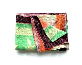 kantha quilt, vintage kantha quilt, indian quilt, kantha throw, coverlet, spring