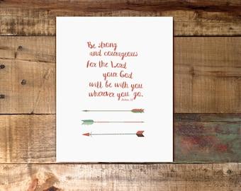 Strong and Courageous / Joshua 1:9 / Nursery Boy Print / Digital Download / Arrows / Faith Based Nursery Print / Scripture / 8x10 11x14