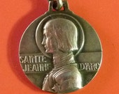Joan of Arc double faced   Vintage  French Medal  Signed E.Blin  Old Pendant Charm Vintage Jewelry ms2