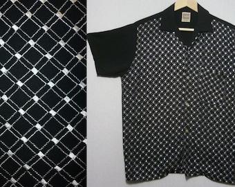 1950s Shirt / S - M / Jet Black & Silver / Two Tone / Campus Shirt / Rockabilly / Atomic / Loop Collar / Stage Shirt / Elvis / Gene Vincent