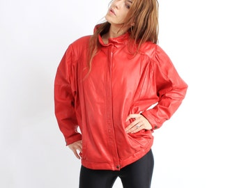 Vintage 80s Cappuccini Red Leather Jacket Size 38