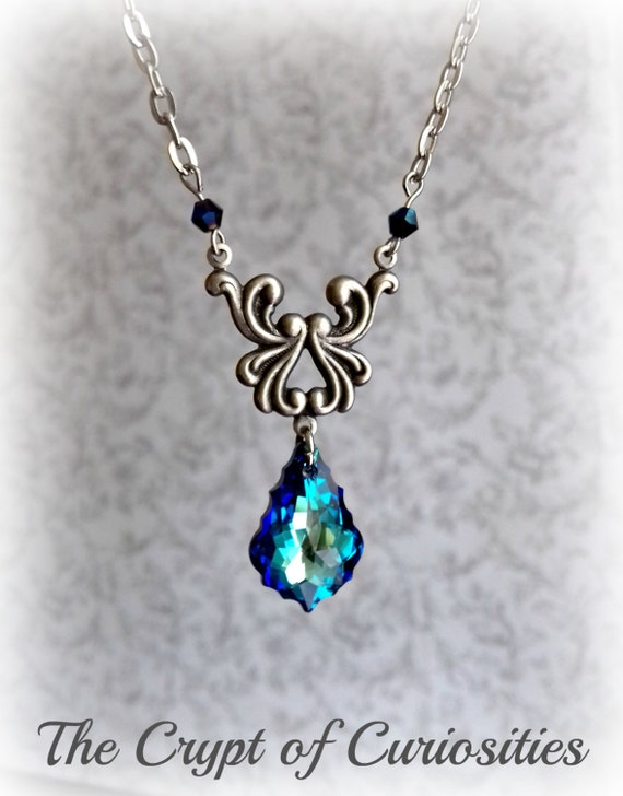 lord of the rings elven inspired swarovski necklace