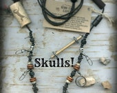 Fly Fishing Lanyard + Tippet Holder with Metal SKULLS ! Carved Bone, Wood and Wire Beads on Black 2mm Paracord