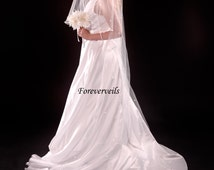 Long Rhinestone Cathedral wedding veil, 2 tier flowing long bridal veil - white, ivory, diamond white, champagne or black