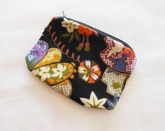Coin Purse Japanese Cotton - Kimono Fabric - Zipper Coin Purse Pouch - Change Purse Makeup Bag