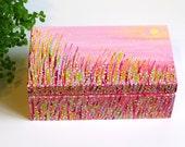 Jewelry box hand painted Wood box Pink jewellery box girls Wooden box Painted trinket box Christmas gift for woman Keepsake box abstract art