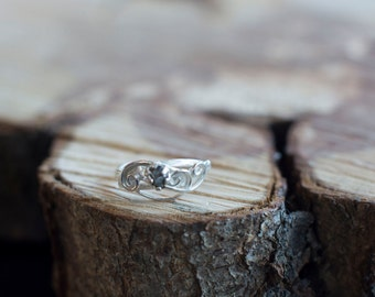 Meteorite Ring with Sterling Silver and Campo del Cielo - Swirls and Leaves Elvish Engagement Ring