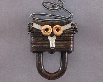 ART MAGNET - Upcycled magnet Assemblage magnet Officer & kitchen magnet - Paddy