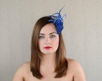 Royal Blue Sinamay Fascinator - Blue Hairclip - Bridesmaid Fascinator - Something Blue
