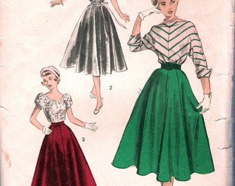 "Vintage 1950's  Advance 5603 Teen Fashion Blouse & Full Skirt Sewing Pattern Size 14 Bust 32"" UNUSED"