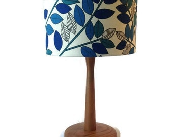 vintage fabric shade with new walnut stained table lamp