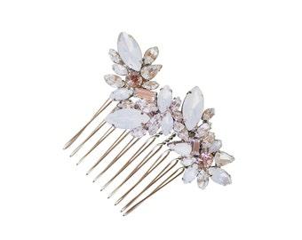 Bridal Hair Comb Weddin Headpiece, Silver Vintage Organic White Opal Vine & Leaves Crystal Dainty Rhinestone Brooch, Camilla Christine KAYA