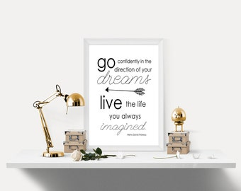 PRINTABLE, Graduation gift, Go confidently in the direction of your dreams, Henry David Thoreau quote, Inspirational printable, Graduation