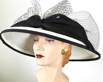 Kentucky Derby Hat White Women's Black and White Hat Derby White Easter Hat