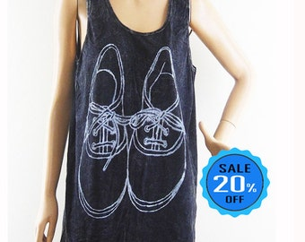 Shoes graphic shirt women graphic tank cute tees teen tshirt gift shirt funny tee cool tank rock tank bleach black shirt screen print size M