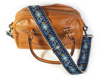 Guitar Strap Style Handbag Strap - Blue Peacock Feathers - Adjustable Bag Strap for handbags, purses and messenger bags - Purse NOT Included