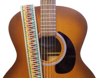 Hemp Guitar Strap - Colorful Bohemian Woven Ribbon on Organic Hemp Webbing - Vintage Style Strap - Acoustic, Electric and Bass Guitars