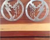 Lightning Bolt Earrings, Sterling Silver, Navajo Silversmith Andrew Johnson