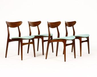 Danish Modern / Mid Century Dining Chairs — African Teak Frames — Seafoam Green vinyl — Set of Four