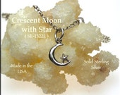 Sterling Silver Moon Necklace, .925 Silver Moon Charm with Star, Small Luna Crescent Moon Jewelry - SE-1522L