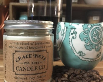 Soy Candle, Soy Wax Candle, Natural Soy Candle in our HAZELNUT COFFEE Scent, Autumn Soy Candle, Fall Candle