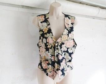 flowered sleeveless vintage cardigan/ reversible