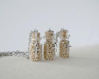 Faith -  Mustard Seed Necklace - Cross Charm - Little Bottle - Glass Jar Necklace