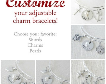 Custom Charm Bracelet - Adjustable Bangle