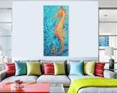 Seahorse Painting, Colorful, Original Acrylic Painting, Coastal Art, Sea Life Large Art, 24 X 48 Deep Edge Canvas