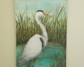 Blue Heron Painting, Serene, Peaceful Original Acrylic Nature Painting, Coastal Art, Sea Life Large Art, 24 X 48 Deep Edge Canvas