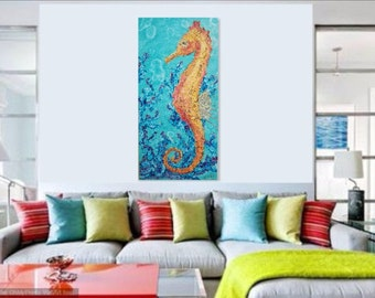 Seahorse Painting, Colorful, Original Acrylic Painting, Coastal Art, Sea Life Large Art, 24 X 48 Deep Edge Canvas