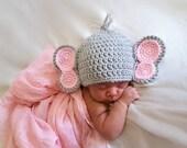 Crochet Baby Elephant Hat, Crochet Baby Hat, Baby Animal Hat Crochet, Baby Animal Beanie, Animal Baby Hat