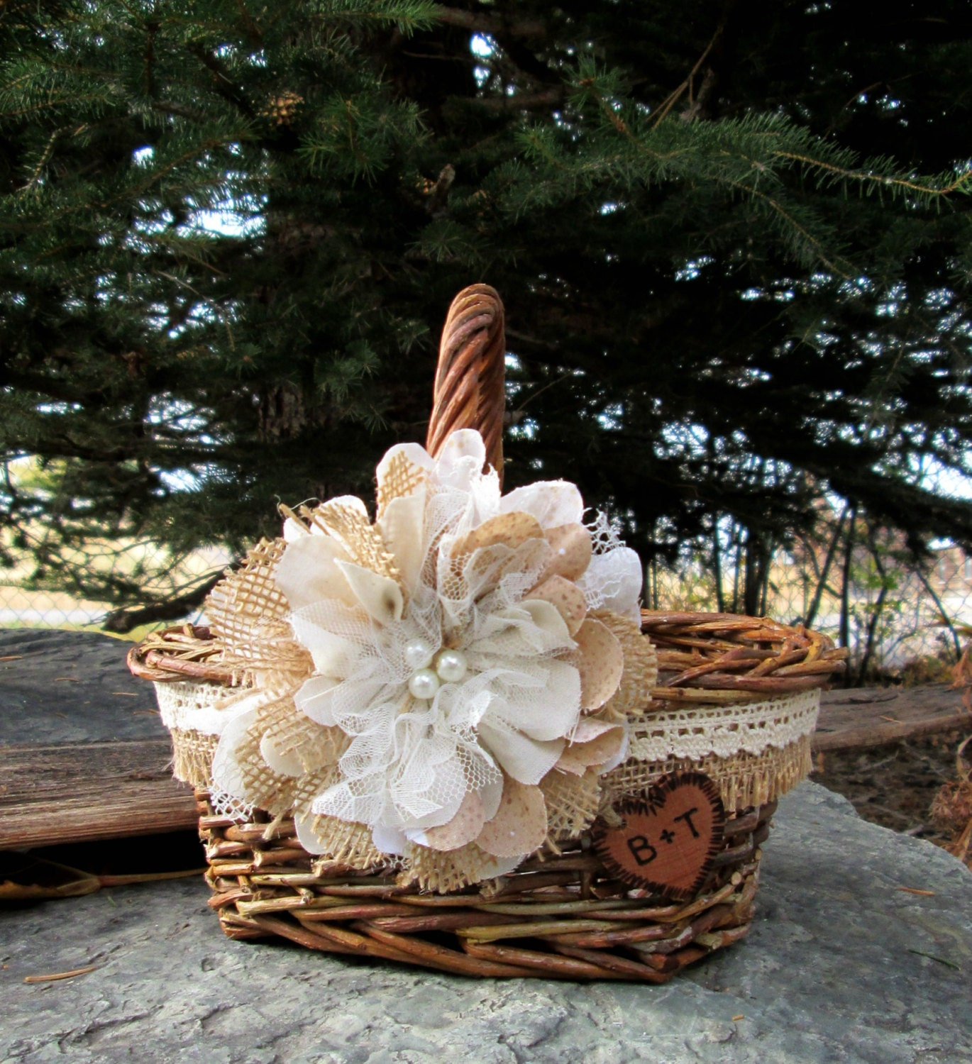 Flower Girl Baskets For Weddings: Personalized Flower Girl Basket Rustic Wedding Basket
