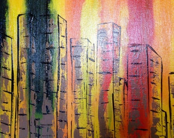"CITY LIFE Mid Century Modern  City Scape Abstract - original Acyrlic  Fusion ART on canvas 16"" X 20"""