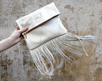 Leather fringe crossbody bag,  Fold over cream white fringe purse