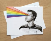 Geordi Sees the Rainbow Post Card, Star Trek Card, Geordi Painting, Funny Card, Geek Card, Star Trek Art, Trekkie