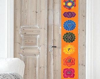 Summer sale 20%Off coupon code: SUMMERSALE2017   Wall hanging Chakras Batik Handpainted yoga meditation room altar decoration boho bohemian