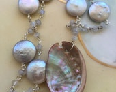 """Boho Hand crafted Big Sur Abalone shell long pendant necklace 30"""", wire wrapped lite grey freshwater pearl coin beads, Mermaid toggle clasp"""
