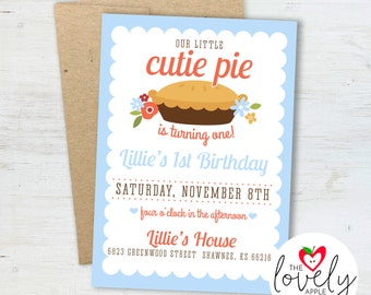 Cutie Pie Birthday Invitation, Printable Cutie Pie Birthday Party Invite