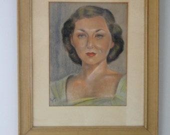 Vintage Original Art Portrait Woman 1940's Red Lipstick Retro Hair Oil Crayon Framed Under Glass