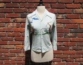 Killer Vintage 1940s 40s Shirt Blouse with Western Indian Teepee Print -Deadstock/Nos- Cowgirl-Cowboy-Ranch-Hillbilly