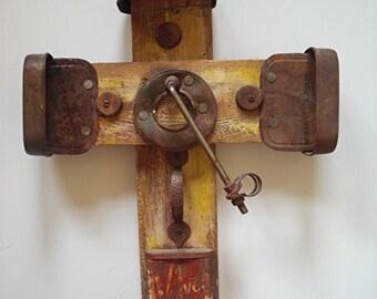 Taos Folk-Art Cross, Outsider Upcycled Art