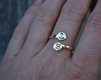 Monogram Rings, Monogram Jewelry, Initial Ring, Adjustable, Brass Monogram Rings