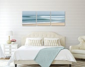 Nautical Decor, 3 Three Panel Seascape Triptych, Large Canvas Art, Abstract Beach Artwork,Ocean Waves Photo, Cape Cod Photography